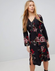 Girls On Film Floral Midi Dress With Hook And Eye Fastening - Black