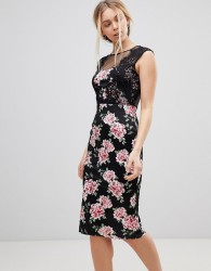 Girls on Film Floral Midi Dress With Lace Detail - Black