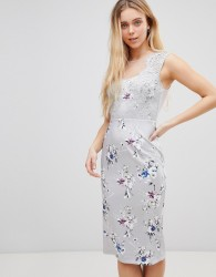 Girls on Film Floral Midi Dress With Lace Top - Multi