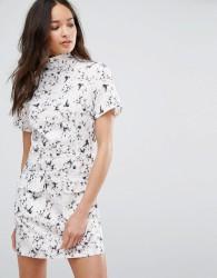 Girls On Film Floral Print High Neck Dress - Multi