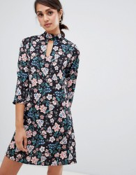 Girls on Film floral shift dress with choker neck detail - Multi