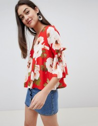Girls on Film floral tie sleeve blouse - Multi