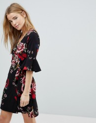 Girls On Film Floral Wrap Dress With Fluted Sleeve - Black
