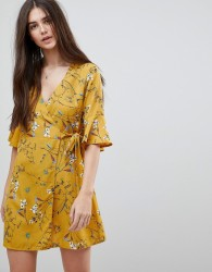 Girls On Film Floral Wrap Dress With Fluted Sleeve - Yellow