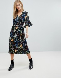 Girls On Film Floral Wrap Front Midi Dress With Fluted Sleeve - Navy