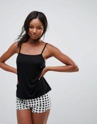 Girls on Film Gingham Nightwear Set - Black