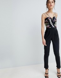 Girls on Film Jumpsuit with Floral Embroidered Top - Black