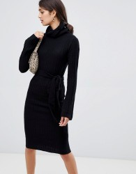 Girls on Film knitted midi dress with tie front detail - Black