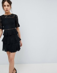 Girls on Film Lace Mini Dress with Tiered Skirt - Black