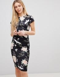 Girls on Film Midi Dress in Bird Print - Black