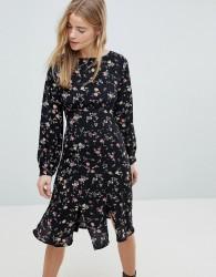 Girls On Film Midi Dress With Front Splits - Navy
