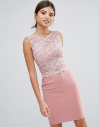 Girls on Film Midi Dress With Lace Top - Pink