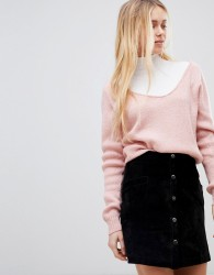 Girls on Film Ribbed Slouchy Jumper - Pink