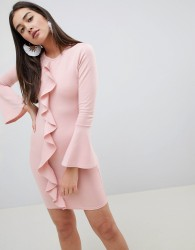 Girls on Film ruffle front bodycon dress - Pink
