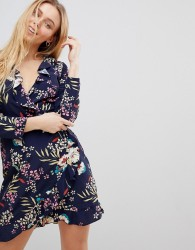 Girls on Film Ruffle Wrap Dress in Tropical Print - Navy