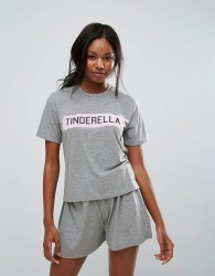 Girls on Film Tinderella Tshirt Shorts Set - Grey