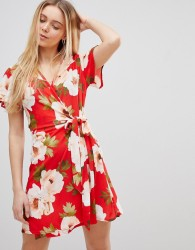 Girls on Film Wrap Dress in Large Floral Print - Red