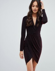 Girls on Film wrap front metallic dress - Black