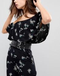 Glamorous Black Double Buckle Waist Belt - Black