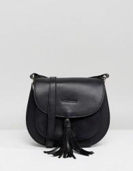 Glamorous Black Saddle Bag With Tassle Detail - Black