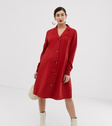Glamorous Bloom button front dress with collar - Red