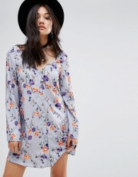 Glamorous Button Front Long Sleeve Swing Dress - Multi