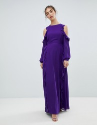 Glamorous Cold Shoulder Frill Dress - Purple