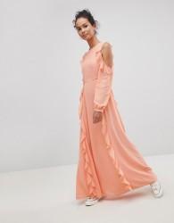 Glamorous Cold Shoulder Ruffle Maxi Dress - Orange