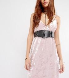 Glamorous Corset Lace-up Eyelet Waist Belt - Black