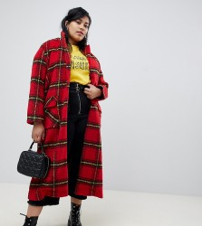 Glamorous Curve longline coat in bright check - Red