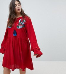 Glamorous Curve Smock Dress With Tiered Sleeve And Embroidery - Red
