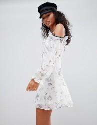 Glamorous Ditsy Print Cold Shoulder Dress - White