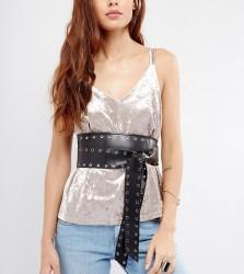 Glamorous Eyelet Soft Obi Wrap Belt - Black