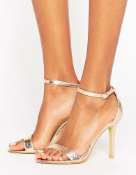 Glamorous Gold Patent Two Part Heeled Sandals - Gold