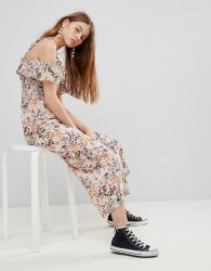 Glamorous Jumpsuit With Ruffle Layer In Floral - Pink