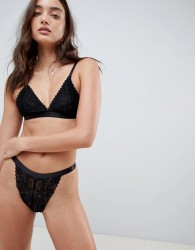 Glamorous Lace High Leg thong - Black