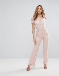 Glamorous Lace Jumpsuit - Pink