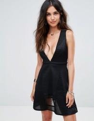 Glamorous Lace Skater Dress - Black