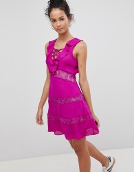 Glamorous Lace Up Dress With Frill - Purple