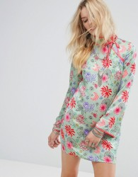 Glamorous Long Sleeve Shift Dress With High Neck In Bright Floral - Green