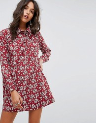 Glamorous Long Sleeve Shirt Dress In Vintage Floral - Red