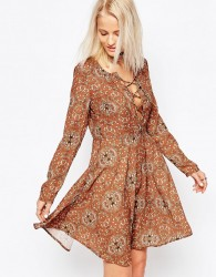 Glamorous Long Sleeve Skater Dress - Brown
