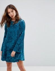 Glamorous Long Sleeve Swing Dress In Crushed Velvet - Blue