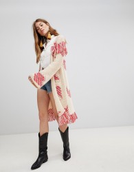 Glamorous Longline Cardigan With Contrast Fringing In Chunky Knit - Cream