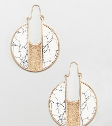 Glamorous marble round earrings () - Gold