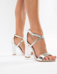 Glamorous Metallic Cross Strap Block Heel Sandals in Silver - Silver