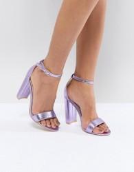 Glamorous Metallic Purple Barely There Block Heeled Sandals - Blue