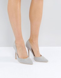 Glamorous Pale Grey D'Orsay Court Shoes - Grey