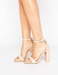 Glamorous Patent Barely There Block Heeled Sandals - Beige