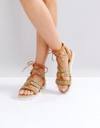 Glamorous Pattern Caged Espadrille Flat Sandals - Multi